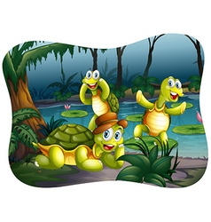 Three turtles living by the pond vector