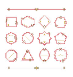 trendy red and golden empty and blank line emblems vector image