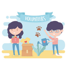 volunteering help charity young woman and man vector image