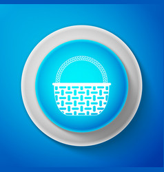 wicker basket icon isolated on blue background vector image