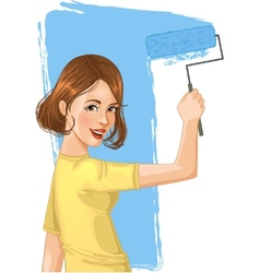 Woman paints the wall vector image