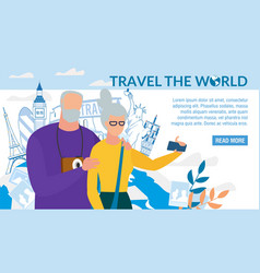 World travel for retired people homepage design vector