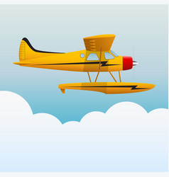 yellow seaplane the aircraft in the sky vector image