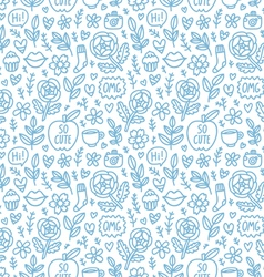 Abstract things doodle pattern vector image vector image