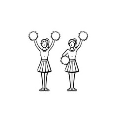 cheerleader women with pom-pom hand drawn icon vector image vector image