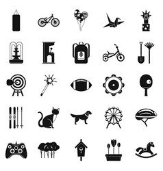 childish sports icons set simple style vector image vector image