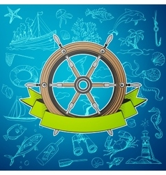 helm boat with hand-drawn elements of marine theme vector image vector image