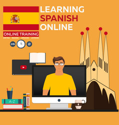 learning spanish online online training distance vector image