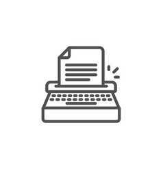 typewriter line icon copywriting sign vector image