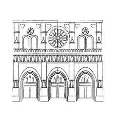 black blurred silhouette cartoon building vector image