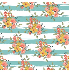 floral pattern with light blue stripes vector image vector image