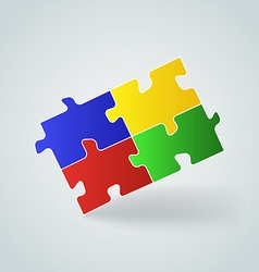 Four colorful puzzle pieces vector image vector image