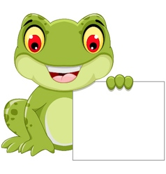 funny frog cartoon holding a blank sign vector image