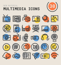 multimedia bold linear icons vector image vector image