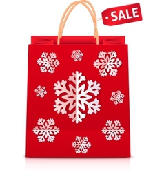 Red Christmas shopping bag with paper snowflakes vector image