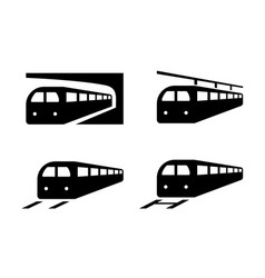 set of train icons in silhouette style vector image