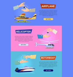 airplane helicopter motorboat hands passing key vector image vector image