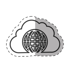 cloud globe connected technology thin line vector image vector image