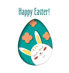 greeting card with happy easter - rabbit and egg vector image vector image