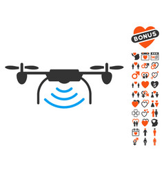 radio transmitter airdrone icon with lovely bonus vector image