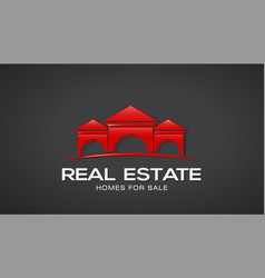 red real estate houses logo design vector image vector image