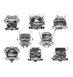 icons set for fishing or fisher sport club vector image