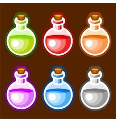 Round cartoon bottles liquids vector image vector image