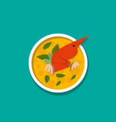 thai shrimp soup - tom yum kung top view vector image