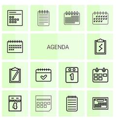 14 agenda icons vector