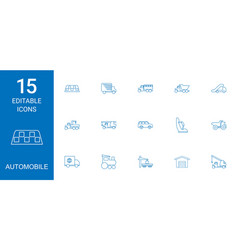15 automobile icons vector image