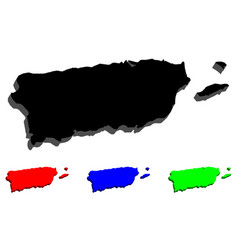 3d map of puerto rico vector image