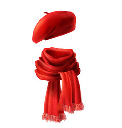 3d realistic red scarf and beret vector image