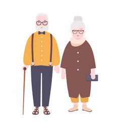adorable elderly married couple old man and woman vector image