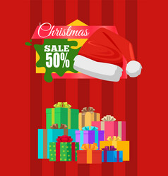Advertising banner xmas sale poster promo label vector