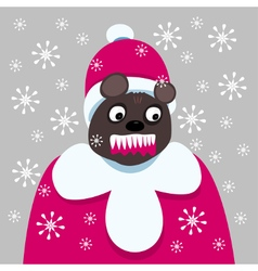 Aggressive bear clothed as in red coat and cap vector