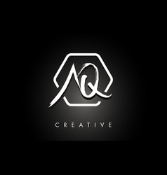 Aq a q brushed letter logo design with creative vector