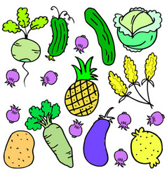 Art of vegetable set various doodles vector