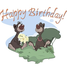 Bears happy birthday postcard vector image