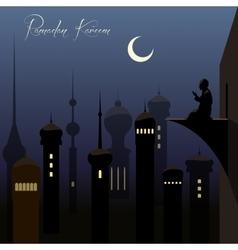Beautiful ramadan kareem background with arabic vector