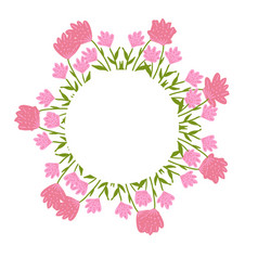 Beautiful wreath elegant floral frame hand drawn vector