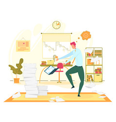 Big troubles at office work flat concept vector