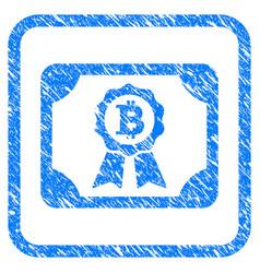 Bitcoin certificate framed stamp vector