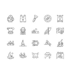 boat tours line icons signs set outline vector image