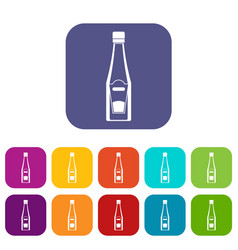 Bottle of ketchup icons set flat vector