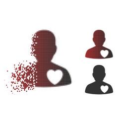 broken pixel halftone male love heart icon vector image