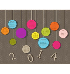 Calendar for 2014 year with circles different colo vector