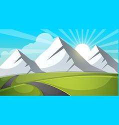 Cartoon landscape mountain sky ray road vector