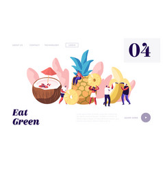 characters and ripe fruits website landing page vector image