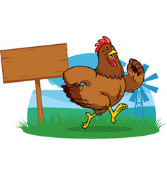 chicken running the farm with cartoon style vector image
