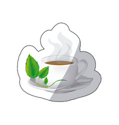 color coffee cup with steam and leaves in the vector image